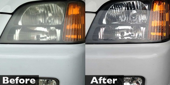 ステップワゴン ヘッドライト磨き 施工前・施工後