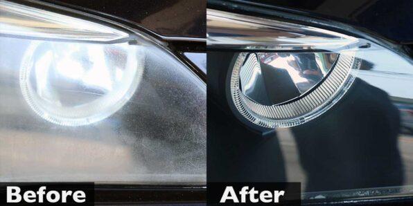 BMWのヘッドライト磨き・曇り取り