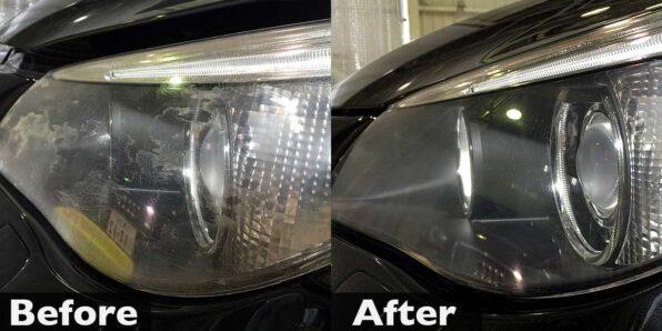 BMWのヘッドライト研磨でカサつきを除去