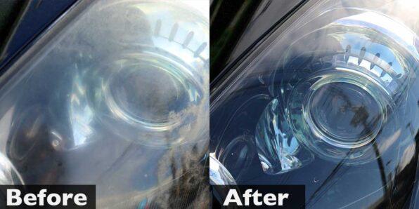 フーガのヘッドライト磨き・黄ばみとり(念入りプラン) 施工前後