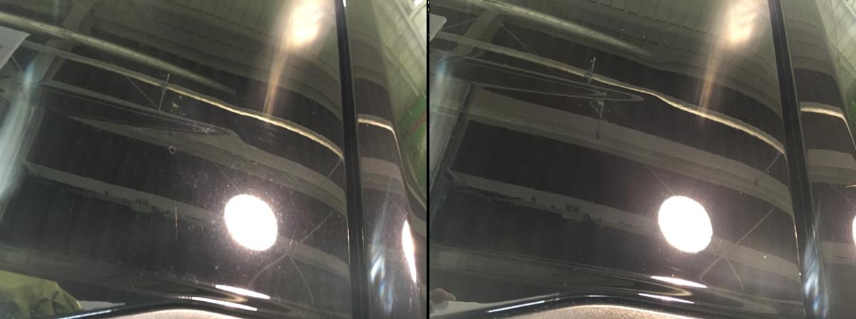 ポリッシャーとバフによる施工 施工前と施工後比較写真