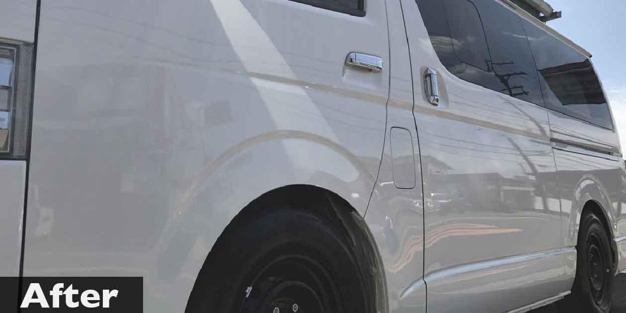 新車にガラスコーティング「クイーンガード・ミユキ」を施工