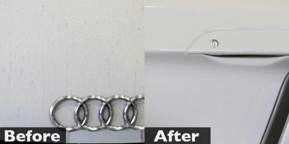 アウディ R8 にアルファブラックガラスコーティング。下地処理前後の比較写真