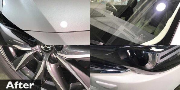 新車CX5にガラスコーティング(ボディ、ヘッドライト、窓ガラス、ホイール他)