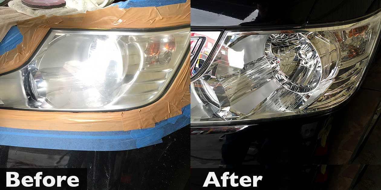 ステップワゴンのヘッドライト磨き(黄ばみ・曇り除去)と車検