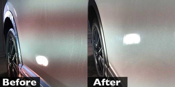 ディーラーで塗装修理した部分を補修し直して再コーティング